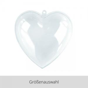 Plastik Herz 2 teilig transparent – Größenauswahl