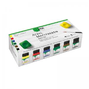 KREUL Acryl Mattfarbe Basis Set – 6 x 20 ml inkl. 1 Pinsel