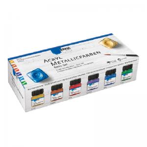 KREUL Acryl Metallicfarbe Basis Set – 6 x 20 ml inkl. 1 Pinsel
