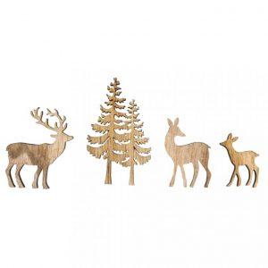 Holzfiguren – Set Baum & Hirsch