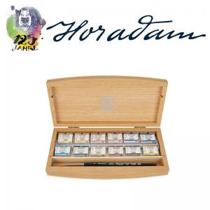 Schmincke HORADAM Aquarellkasten Holz – 12 ganze Näpfchen